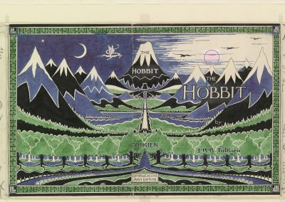 The Hobbit dust jacket (MS. Tolkien Drawings 32,  © The Tolkien Estate Limited 1937)